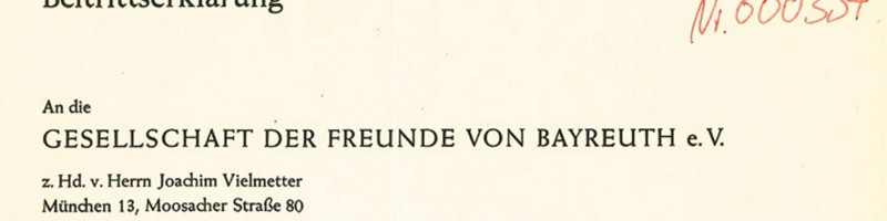 The first Application-Form to the Society of Friends of Bayreuth